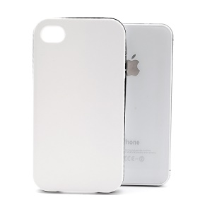 Frosted Flexible TPU Jelly Case Cover w/ Removable Plastic Rim for iPhone 4 4S - Black Rim / White