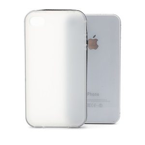 Frosted Flexible TPU Jelly Case Cover w/ Removable Plastic Rim for iPhone 4 4S - Black / Transparent