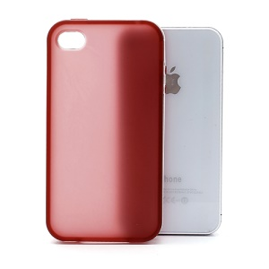 Frosted Flexible TPU Jelly Case Cover w/ Removable Plastic Rim for iPhone 4 4S - White / Red