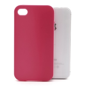 Frosted Flexible TPU Jelly Case Cover w/ Removable Plastic Rim for iPhone 4 4S - White / Rose