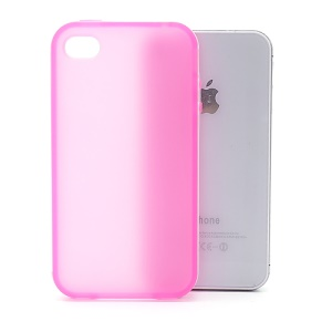 Frosted Flexible TPU Jelly Case Cover w/ Removable Plastic Rim for iPhone 4 4S - White / Pink