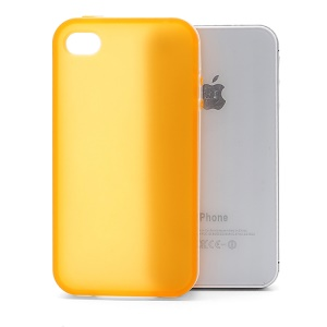 Frosted Flexible TPU Jelly Case Cover w/ Removable Plastic Rim for iPhone 4 4S - White / Orange