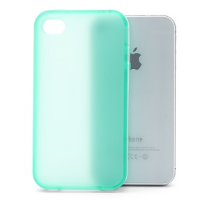 Frosted Flexible TPU Jelly Case Cover w/ Removable Plastic Rim for iPhone 4 4S - White / Green