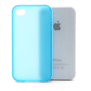 Frosted Flexible TPU Jelly Case Cover w/ Removable Plastic Rim for iPhone 4 4S - White / Blue