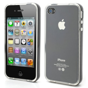 Transparent TPU Gel Case Cover w/ Removable Plastic Rim for iPhone 4 4S - Transparent / Black Rim