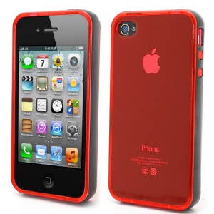 Transparent TPU Gel Case Cover w/ Removable Plastic Rim for iPhone 4 4S - Transparent Red / Black Rim