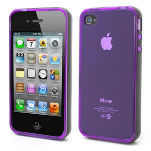 Transparent TPU Gel Case Cover w/ Removable Plastic Rim for iPhone 4 4S - Transparent Purple / Black Rim
