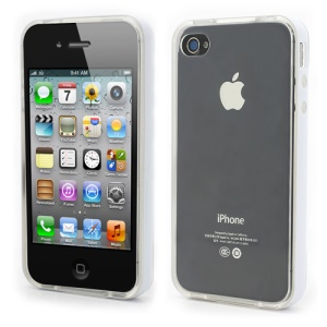 Transparent TPU Gel Case Cover w/ Removable Plastic Rim for iPhone 4 4S - Transparent / White Rim