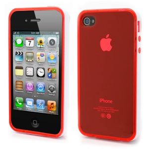 Transparent TPU Gel Case Cover w/ Removable Plastic Rim for iPhone 4 4S - Transparent Red / White Rim