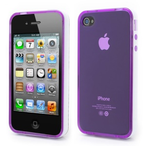 Transparent TPU Gel Case Cover w/ Removable Plastic Rim for iPhone 4 4S - Transparent Purple / White Rim