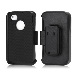 3 in 1 Defender Series Rugged Case with Belt Clip Holster for iPhone 4 4S - Black