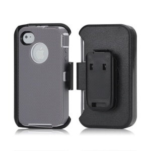 3 in 1 Defender Series Rugged Case with Belt Clip Holster for iPhone 4 4S - White / Grey