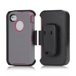 3 in 1 Defender Series Rugged Case with Belt Clip Holster for iPhone 4 4S - Rose / Grey