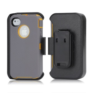3 in 1 Defender Series Rugged Case with Belt Clip Holster for iPhone 4 4S - Yellow / Grey
