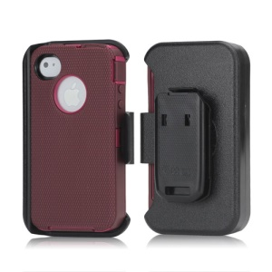 3 in 1 Defender Series Rugged Case with Belt Clip Holster for iPhone 4 4S - Rose / Red Violet