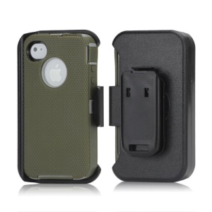 3 in 1 Defender Series Rugged Case with Belt Clip Holster for iPhone 4 4S - Grey / Reed Green