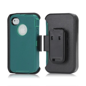 3 in 1 Defender Series Rugged Case with Belt Clip Holster for iPhone 4 4S - Green