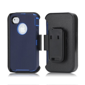 3 in 1 Defender Series Rugged Case with Belt Clip Holster for iPhone 4 4S - Dark Blue