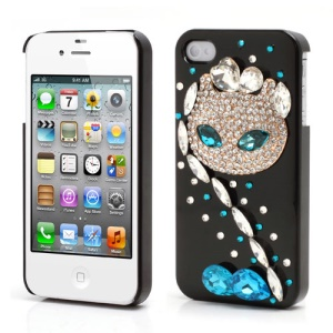 Sparkling Rhinestone Cute Cat Diamond Hard Case for iPhone 4 4S - Black