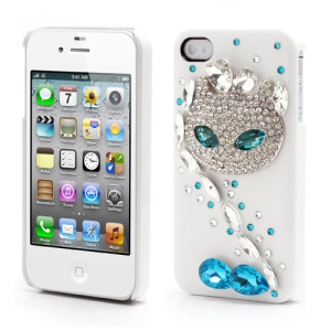 Sparkling Rhinestone Cute Cat Diamond Hard Case for iPhone 4 4S - White