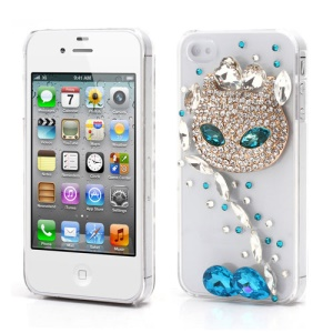 Sparkling Rhinestone Cute Cat Diamond Hard Case for iPhone 4 4S - Crystal