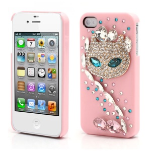 Sparkling Rhinestone Cute Cat Diamond Hard Case for iPhone 4 4S - Pink
