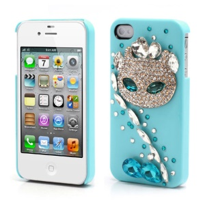 Sparkling Rhinestone Cute Cat Diamond Hard Case for iPhone 4 4S - Blue