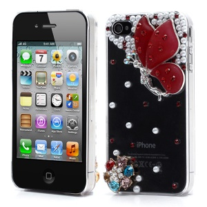 Vivid 3D Butterfly Rhinestone Pearl Crystal Hard Case Shell for iPhone 4 4S - Red