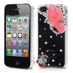 Vivid 3D Butterfly Rhinestone Pearl Crystal Hard Case Shell for iPhone 4 4S - Pink