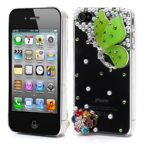 Vivid 3D Butterfly Rhinestone Pearl Crystal Hard Case Shell for iPhone 4 4S - Green