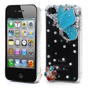 Vivid 3D Butterfly Rhinestone Pearl Crystal Hard Case Shell for iPhone 4 4S - Blue