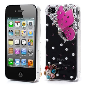 Vivid 3D Butterfly Rhinestone Pearl Crystal Hard Case Shell for iPhone 4 4S - Purple