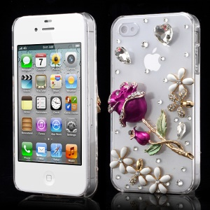 3D Rose Flower Bling Rhinestone Crystal Case Cover for iPhone 4 4S - Rose Color