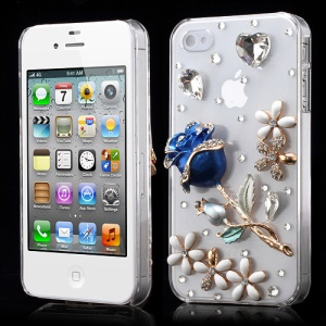 3D Rose Flower Bling Rhinestone Crystal Case Cover for iPhone 4 4S - Blue