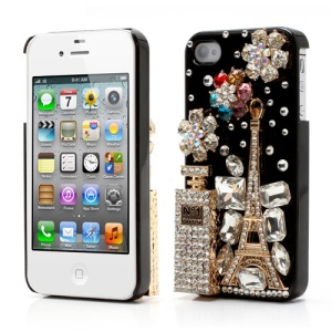 Bling Bling 3D No1 Perfume Bottle and Tower Rhinestone Case for iPhone 4 4S - Black