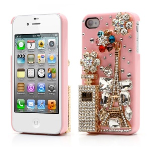 Bling Bling 3D No1 Perfume Bottle and Tower Diamond Case for iPhone 4 4S - Pink