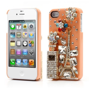 Bling Bling 3D No1 Perfume Bottle and Tower Diamond Case for iPhone 4 4S - Orange