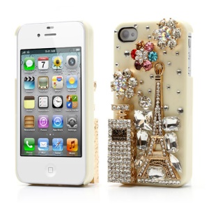 Bling Bling 3D No1 Perfume Bottle and Tower Diamond Cover for iPhone 4 4S - Beige