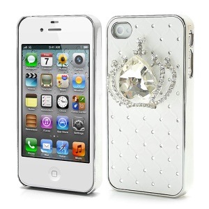 Shiny Crystal Heart Crown Rhinestone Case for iPhone 4 4S - White