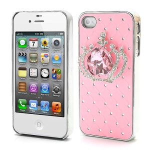 Shiny Crystal Heart Crown Rhinestone Case for iPhone 4 4S - Pink