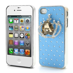 Shiny Crystal Heart Crown Rhinestone Case Shell for iPhone 4 4S - Blue