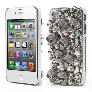 Glittery Rhinestone Crystal Skull Case Cover for iPhone 4 4S - Silver