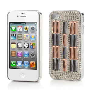 Sparkling Crystal Stone Rhinestone Cover for iPhone 4 4S  - Orange / Grey