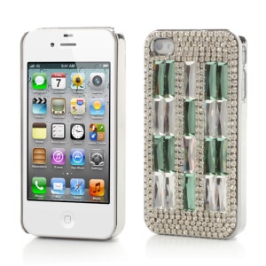 Sparkling Crystal Stone Rhinestone Case Shell for iPhone 4 4S  - Green / Silver
