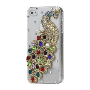 Luxury 3D Peacock Diamond Crystal Case Cover for iPhone 4 4S - Colorful
