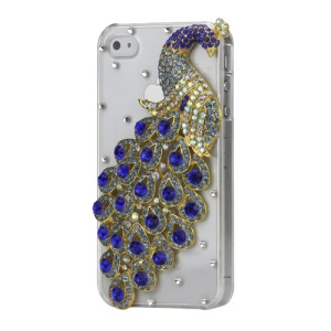 Luxury 3D Peacock Diamond Crystal Case Cover for iPhone 4 4S - Jewelry Blue