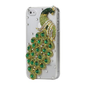 Luxury 3D Peacock Diamond Crystal Case Cover for iPhone 4 4S - Green