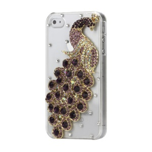 Luxury 3D Peacock Diamond Crystal Case Cover for iPhone 4 4S - Purple