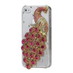 Luxury 3D Peacock Diamond Crystal Case Cover for iPhone 4 4S - Rose