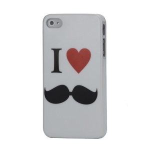 I Love Red Heart Moustache Pattern Slim Plastic Case for  For iPhone 4 4S